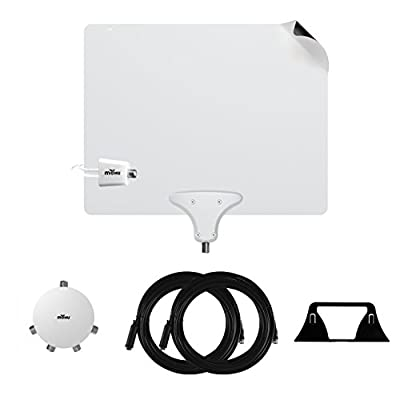 Mohu Leaf 50 Premium TV Antenna Multi-room Value Pack with Jolt 4-way Amplifier Splitter, two 30 foot Coaxial Cables and Antenna Stand, 50 Mile Range, Indoor, 4k-Ready for multiple televisions