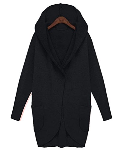 Baymate Damen Mantel Winter Kapuzenjacke Lange Mantel Jacke Trenchcoat Sweatjacke Herbst Parka Outwear mit Tasche Schwarz WHy1m