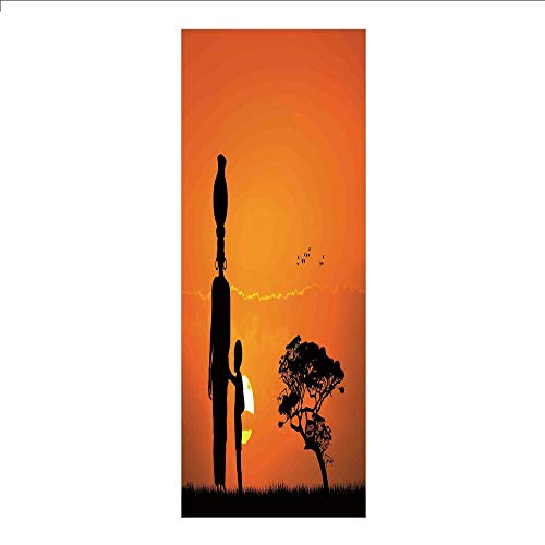3D Decorative Film Privacy Window Film No Glue,Afro Decor,Child and Mother at Sunset Walking in Savannah Desert Dawn Kenya Nature Image,Orange Black,for Home&Office