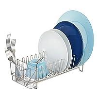 InterDesign Classico - Rack escurridor de platos de cocina compacto para secar vasos, cubiertos, platos, platos - satinado /transparente