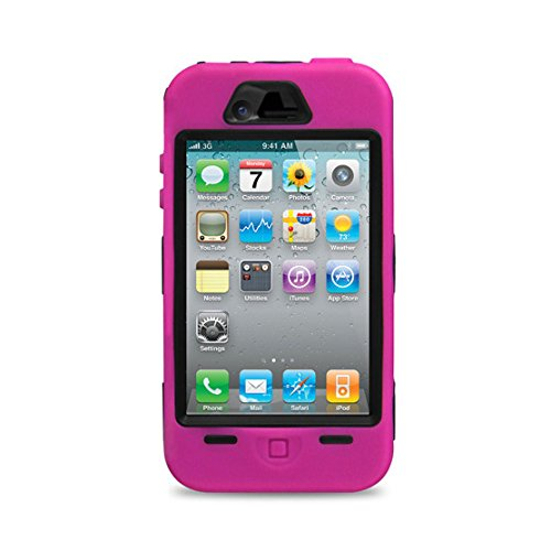 Hot Pink Rugged Hard Rubber Case & Cover For iPhone 4 / 4S & Screen Protector