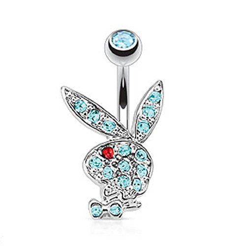 - Playboy Bunny Multi Colored Gems Navel Ring Freedom Fashion 316L Surgical Steel