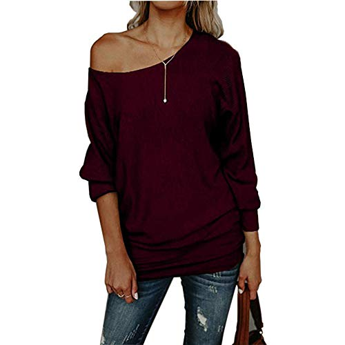 Womens Off The Shoulder Sweater Casual Knitted Loose Long Sleeve -