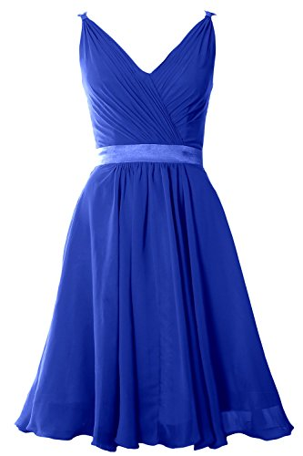 MACloth Women Pleated Chiffon Short Bridesmaid Dress Wedding Cocktail Party Gown Azul Real