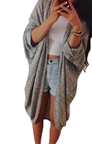 Qearl Women's Korean Batwing Sleeve Loose Oversized Long Cardigan Sweater (XL, Gray)
