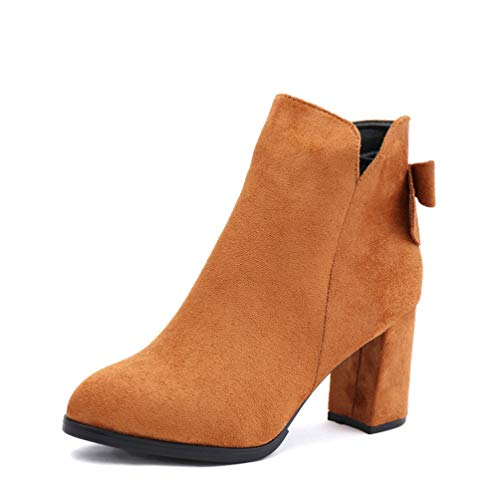 DETAWIN Women Mid Calf Boot Chunky High Heel Side Zipper Slip-On Comfortable Pointed Toes Winter Boots