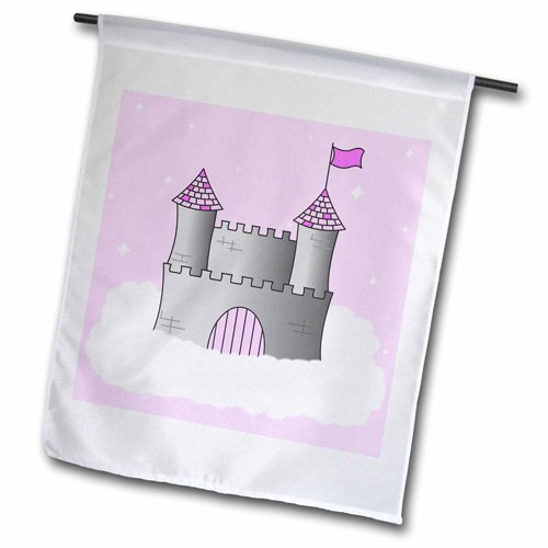 3dRose fl_24631_2 Pink and Grey Princess Castle in The Cl...