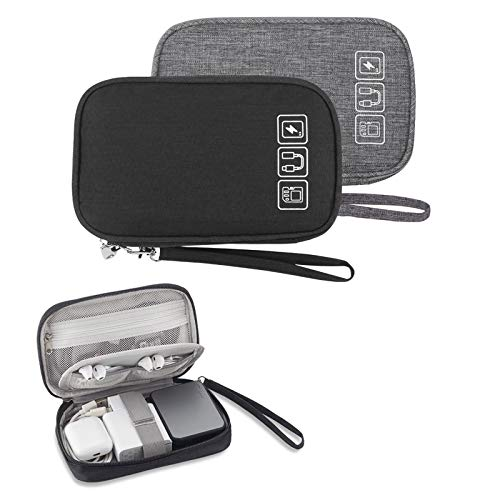 Small Electronic Organizer Cable Bag, Travel Portable 2 PCS Electronic Accessories Storage Bag Soft Carrying Case Pouch for Hard Drive, Cord, Charger, Earphone, USB, SD Card (Black+Gray)