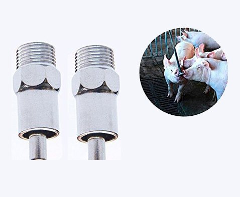 YEHAM 5pc Stainless Steel NPT 1/2'' Automatic Pig Nipple Drinker Farm/Garden Animal Water Feeder Supply