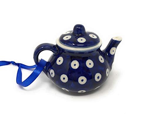 (Manufaktura Polish Pottery Hand-Painted Peacock Teapot Ornament)