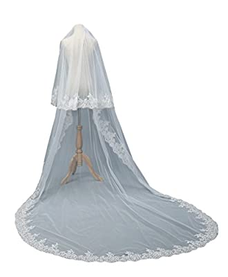 Newdeve Lace Wedding Veils Cathedral Length 2 Tiers Bridal Veil Long
