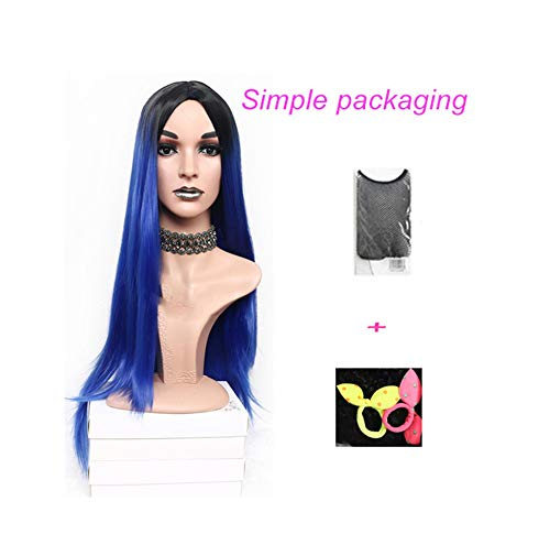 Lotus leaf fragrance Long Straight Pink Heat Resistant Synthetic Two Tone Wigs For Women 30 inch Black Brown Blue hairpiece 7 -