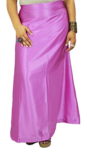 (Indian Satin Silk Petticoat Bollywood Solid Inskirt Lining for Sari Purple)