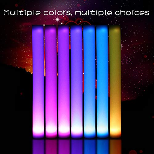 Fun Central (AC894 24 Pack LED Foam Stick Baton- Multi-Color Light Up Baton, Foam Sticks, LED Sticks, Foam Baton, for Parties, Festivals, Sports, Concerts, Birthday and -
