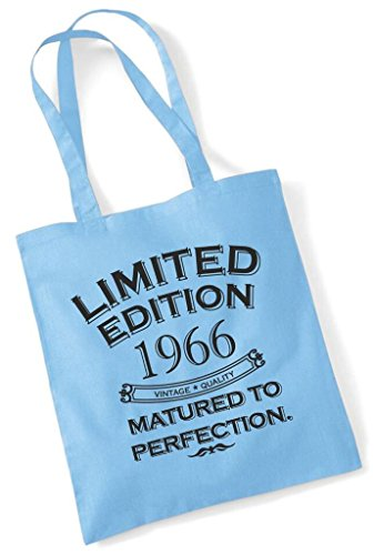 1966 Edition Matured Year Limited Perfection Cotton Birthday Sky Birth To Shopping Gift Fun Present Blue Bag Tote azUZv