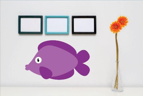 Vinyl Wall Decal Sticker : Purple Fish Water Ocean Sea Animal Kids Children Boy Girl Bedroom Bathroom Living Room Picture Art Peel & Stick Mural - Discounted Sale Price Size: : 24 Inches X 48 Inches - 22 Colors Available