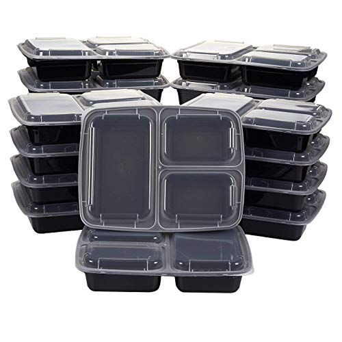 Control Plate Portion (Vivaware [20 Pack] 3 Compartment Meal Prep Containers with Lids - Food Storage Bento Box - BPA Free - Stackable - Reusable Lunch Boxes - Microwave , Dishwasher , Freezer Safe - Portion Control)