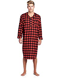 Mens Flannel Plaid Long Sleep Shirt Henley Nightshirt 8c132f2c7