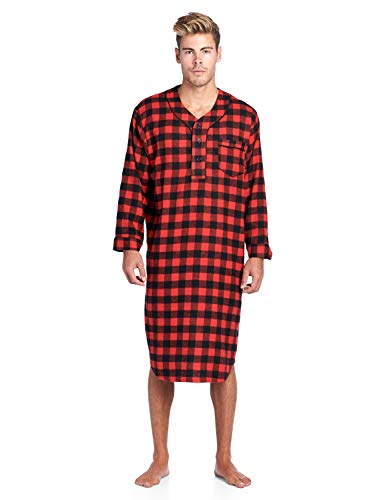 Mens Flannel Plaid Sleep Shirt