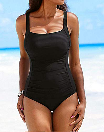 Upopby Women's Vintage Padded Push up One Piece Swimsuits Tummy Control Bathing Suits Plus Size Swimwear Black 18 by Upopby (Image #4)
