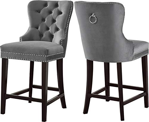 (Meridian Furniture 741Grey-C Nikki Collection Modern   Contemporary Grey Velvet Upholstered Counter Stool with Wood Legs, Button Tufting, Chrome Nailhead Trim, Set of 2, 21