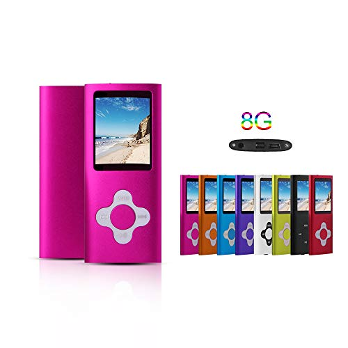 G.G.Martinsen Pink 8GB Versatile MP3/MP4 Player with Photo Viewer, Mini USB Port Slim 1.78 LCD, Digital MP3 Player, MP4 Player, Video Player, Music Player, Media Player