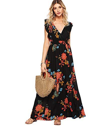 (Milumia Womens Wrap V Neck Sundress Floral Boho Party Wedding Empire Waist Maxi Dresses Black M)