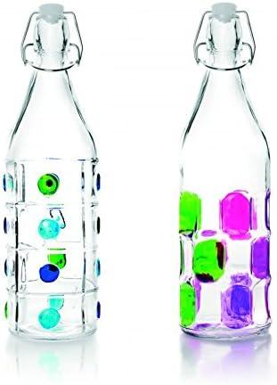 IBILI 740111 Botella Decorado Vidrio Transparente 1 L 8 X 8 X 32 ...