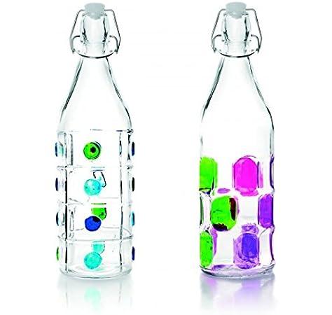 IBILI 740111 Botella Decorado Vidrio Transparente 1 L 8 X 8 X 32 cm: Amazon.es: Hogar