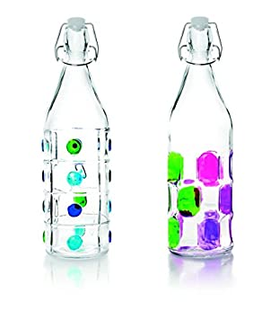 IBILI 740111 Botella Decorado Vidrio Transparente 1 L 8 X 8 X 32 cm: Amazon.es: Hogar