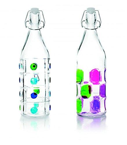 IBILI 740111 Botella Decorado Vidrio Transparente 1 L 8 X 8 X 32 cm