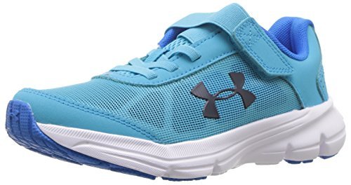 Under Armour Girls' Pre School Rave 2 Adjustable Closure Sneaker, Alpine (301)/Blue Circuit, 2 ()