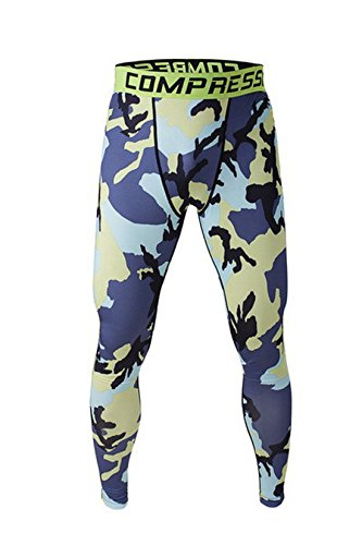 Camo Base (Welen Mens Sport Compression Leggings Base Layer Long Pants Camo Trousers XXL,Blue Yellow,2XL (Same as US XL))