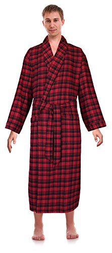 Robes King Classical Sleepwear Men's 100% Cotton Flannel Shawl Collar Robe, Size Large Extra Large (Flannel Robe)