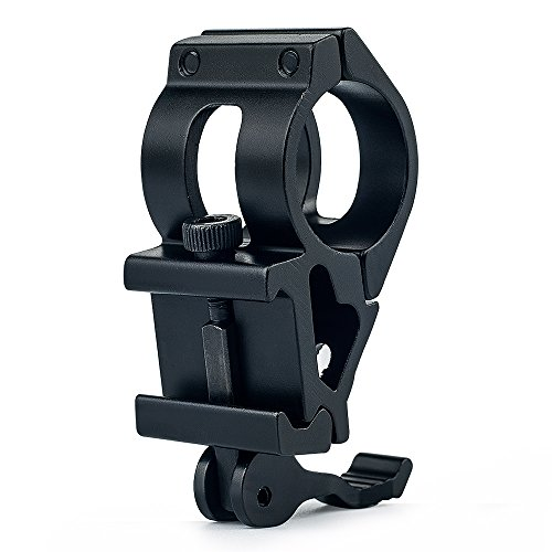 UniqueFire General Tactical Scope Rail Mount 45-Degree 1'' (25.4mm) Ring Offset Flashlight Mount with QD Quick Release Base Fit on 20mm Picatinny Rail Mount