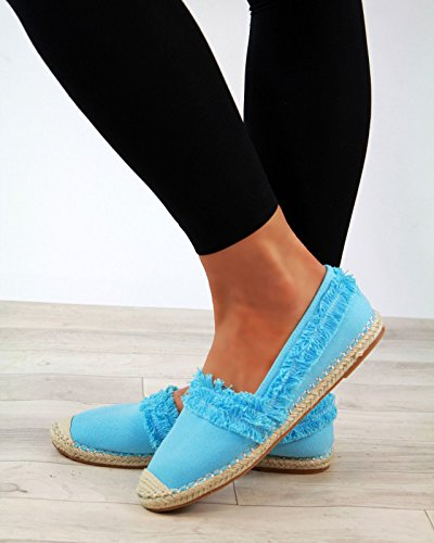 New Womens Slip On Espadrilles Flat Canvas Sandals Comfy Ladies Shoes Blue ISSr6h5SY