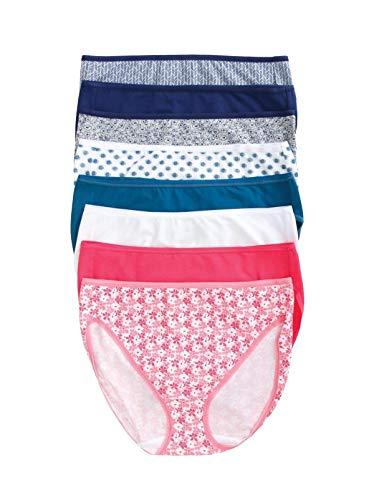 Felina | Full Cotton Hi Cut Panty Full Rear Coverage | 8-Pack (Vibrant Shades, Large)