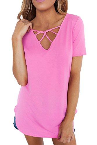 New solido rosa morbido gabbia anteriore camicetta estate camicia top casual Wear taglia UK 16EU 44