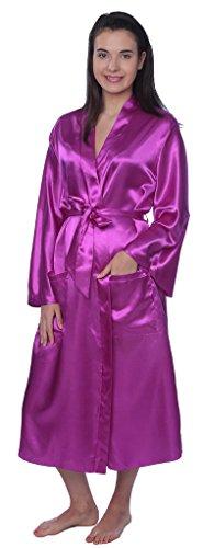 (Beverly Rock Women's Plus Size Long Satin Robe Gown SR01_Purple 2X)