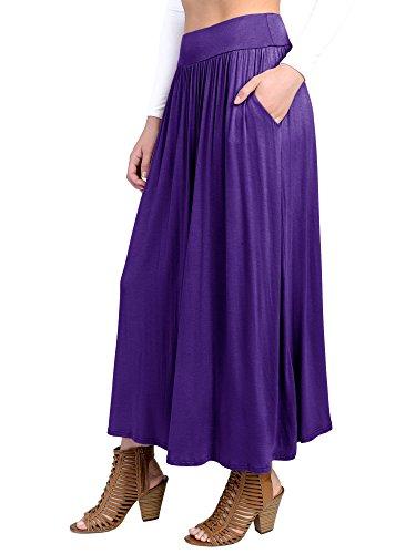 Fashion California FACA Womens High Waist Shirring Maxi Skirt Ankle Length With Pockets (Large, Purple)