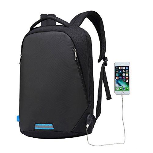 UBaymax Anti-Diebstahl Laptop Rucksack mit USB Anschluss für Schule,Uni,Business,Reisen,15,6 Zoll ,Größe: 31 * 46 * 14 cm,für Herren,Damen,Kinder,Canvas Wasserdicht (USB-Schwarz2)