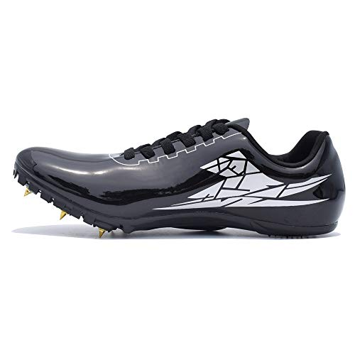 Thestron Track Shoes Spikes Mens Womens Distance Running Sneakers Athletic Sprinting Track and Field Racing Shoes with Spikes Boys Girls ... Black (Best Track Shoes For Mid Distance)