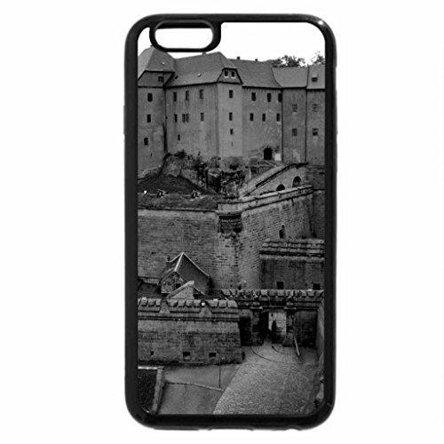iPhone 6S Plus Case, iPhone 6 Plus Case (Black & White) - ancient castle on grassy hill