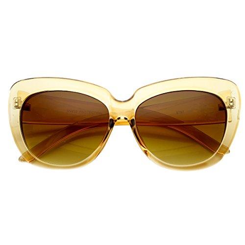 zeroUV - Womens Oversized Large Bold Fashion Cat Eye Sunglasses (Clear Tan Amber) (Sunglasses Womens Tan)