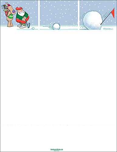 Holiday Stationery - Funny Golf Stationery- 8.5 x 11-80 Fun Letterhead Sheets (Golf) - Christmas Holiday Stationary