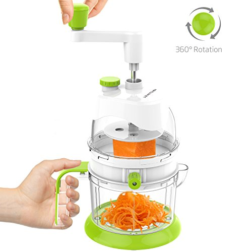 Hand Crank Kitchen Appliances: Multi-functional Spiral Vegetable Slicer Set LOVKITCHEN