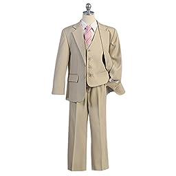 HBDesign Boy\'s 3 piece 3 Button Notch Lapel Slim Trim Fit Formal Suit Tan