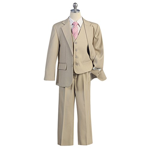 HBDesign Boy's 3 piece 3 Button Notch Lapel Slim Trim Fit Formal Suit Tan