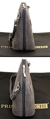sac Comprend de de de petit Sacchi bandoulière un à sac ou italien rangement Foncé marque à cuir sacs micro Suede Gris carrosserie Primo sac main wnYHfqpx