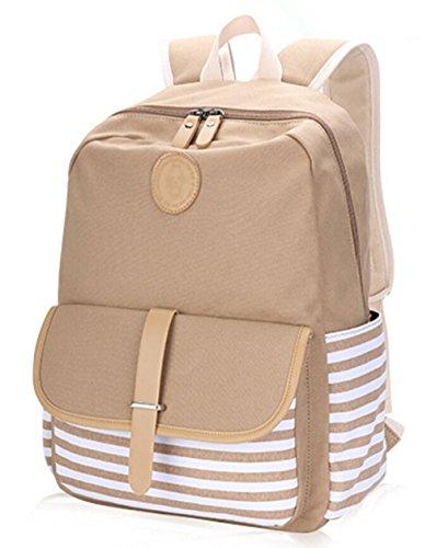 Bolso Tipo Casual Escolares Mochilas Lona Juvenil Capacidad Grand DATO de Backpacks Mochila Viaje Mujer Raya Khaki Mochilas Moda para Zgnx1wpdqa